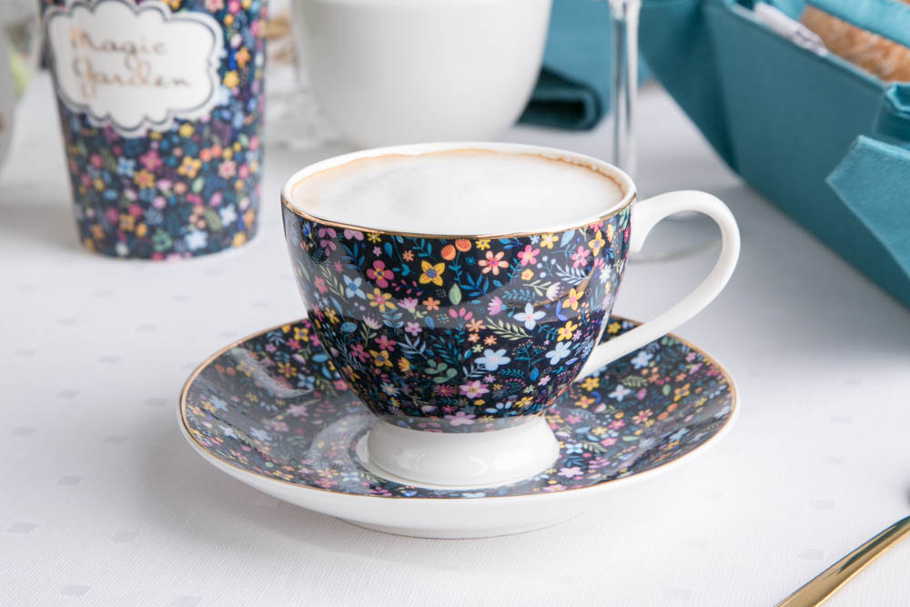 Filiżanka do kawy i herbaty ze spodkiem porcelanowa Altom Design Magic Garden 200 ml