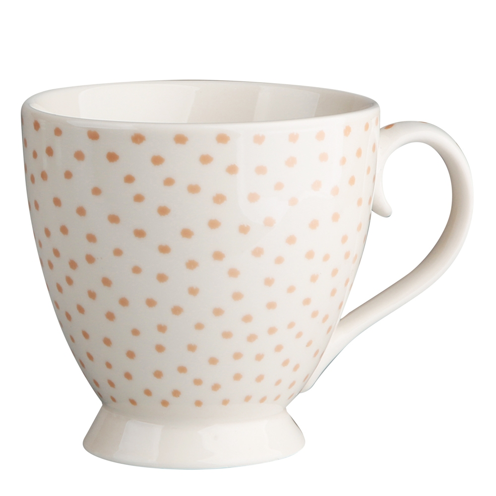 Duża filiżanka do kawy i herbaty porcelanowa Altom Design Łososiowe Kropki 420 ml dek. I