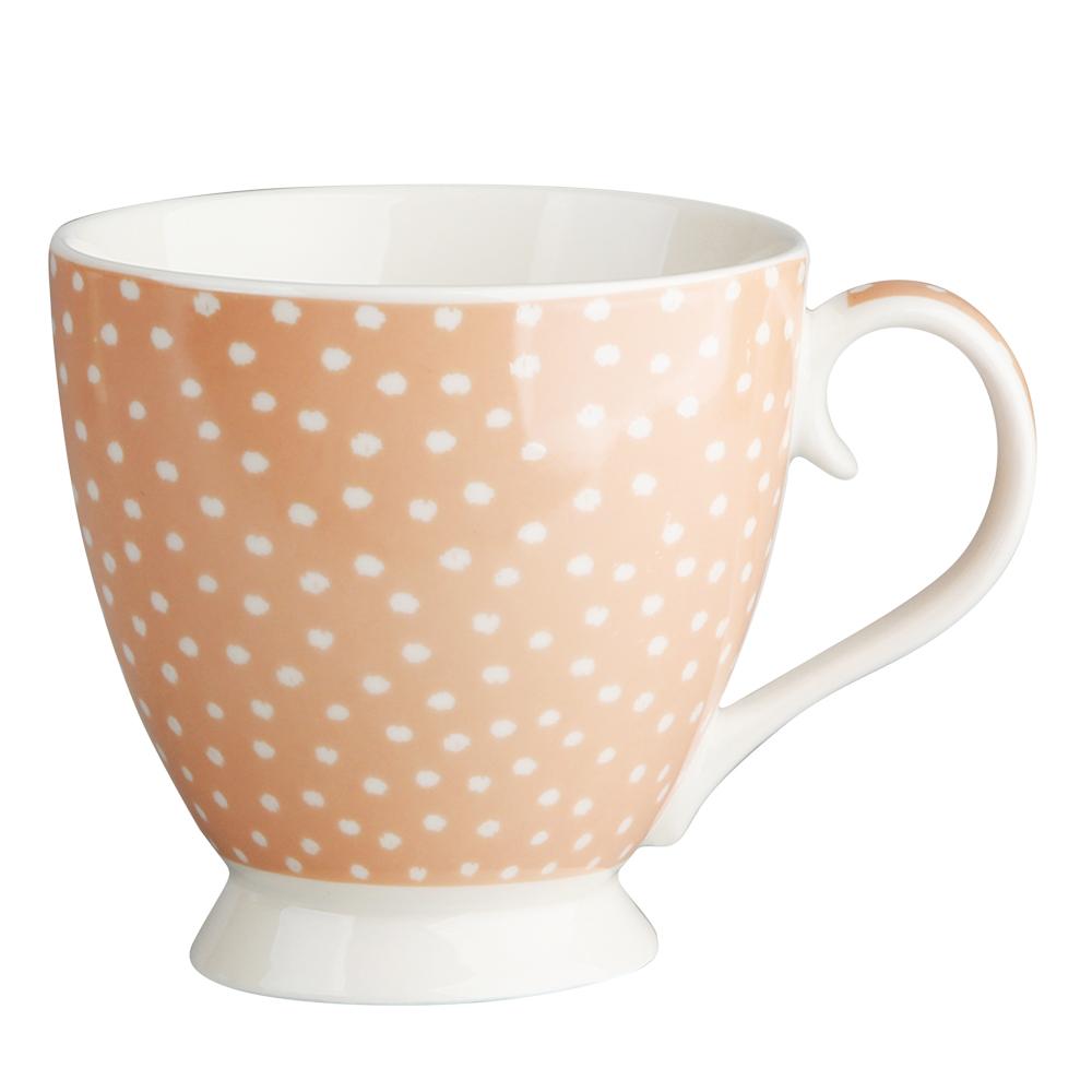 Duża filiżanka do kawy i herbaty porcelanowa Altom Design Łososiowe Kropki 420 ml dek. II