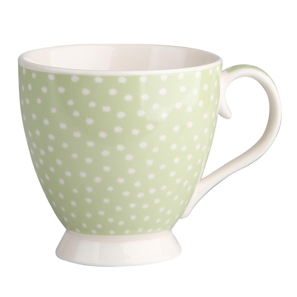 Duża filiżanka do kawy i herbaty porcelanowa Altom Design Seledynowe Kropki 420 ml dek. II