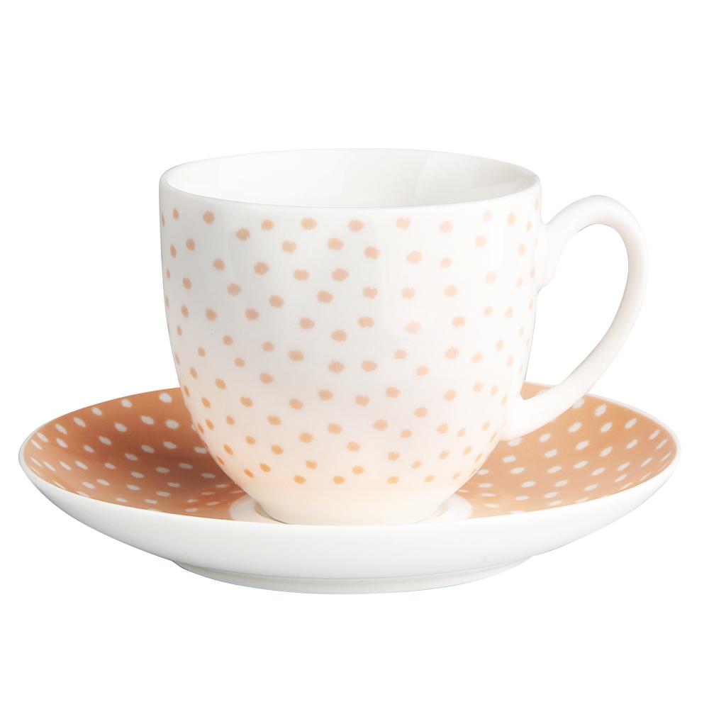 Filiżanka do kawy i herbaty ze spodkiem porcelanowa Altom Design Łososiowe Kropki 200 ml