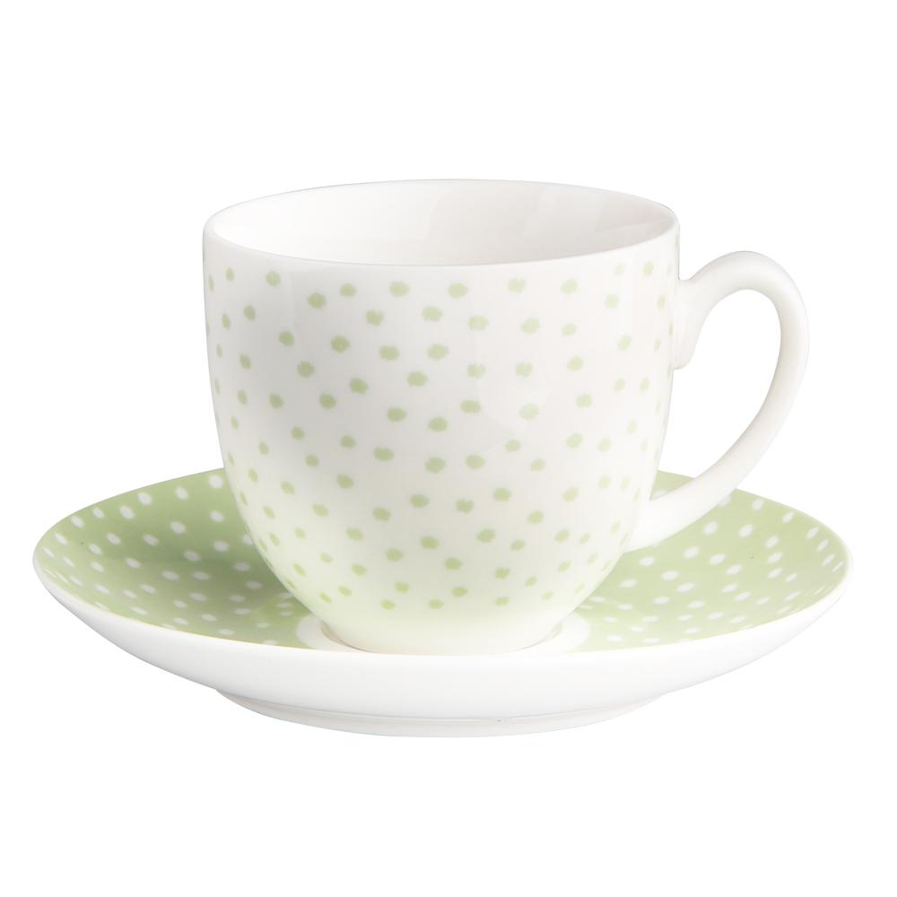 Filiżanka do kawy i herbaty ze spodkiem porcelanowa Altom Design Seledynowe Kropki 200 ml