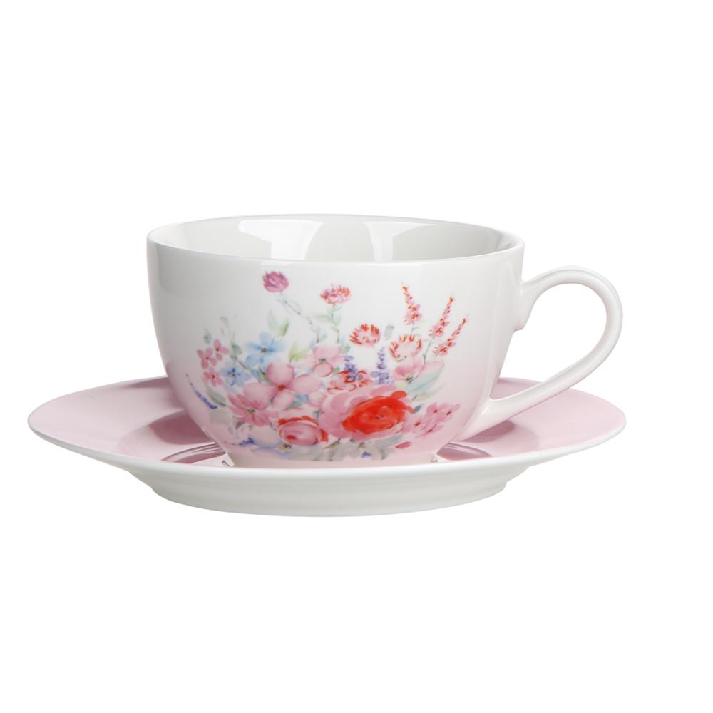 Filiżanka do kawy i herbaty ze spodkiem porcelanowa Altom Design Pastelowy Kwiat 200 ml