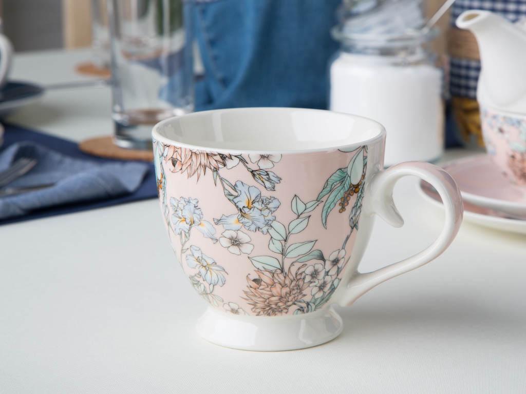 Filiżanka porcelanowa Altom Design Flower Jeans morelowa