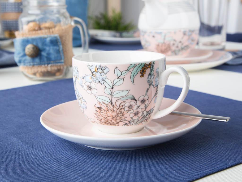 Filiżanka ze spodkiem do kawy i herbaty Altom Design Flower Jeans morelowa