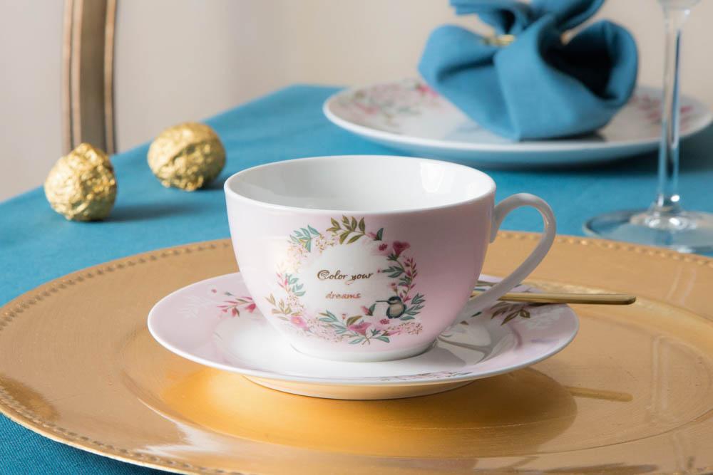 Filiżanka do kawy i herbaty ze spodkiem porcelanowa Altom Design Dream 250 ml (w opasce)