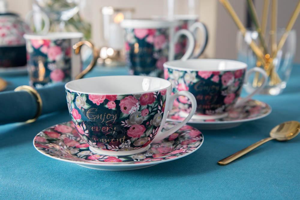 Filiżanka do kawy i herbaty ze spodkiem porcelanowa Altom Design Enjoy 200 ml (komplet 2 szt. / opakowanie prezentowe)
