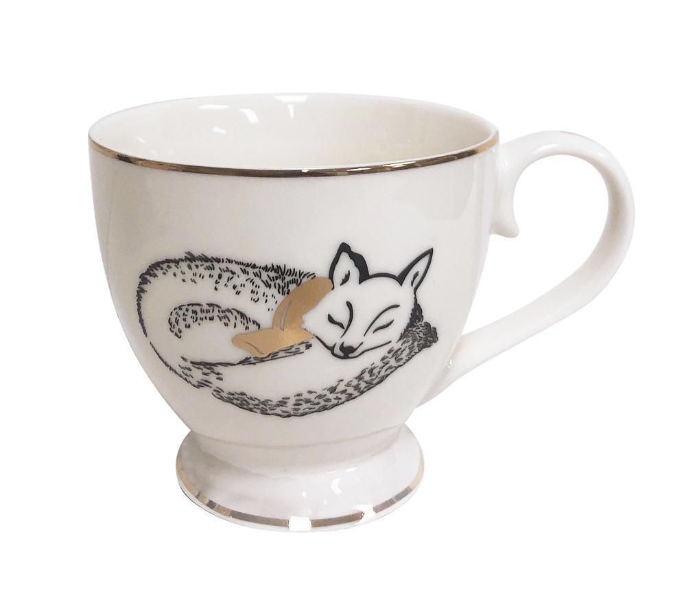 Filiżanka do kawy i herbaty / duża filiżanka jumbo porcelanowa święta Boże Narodzenie Altom Design Nordic Forest Lis 400 ml