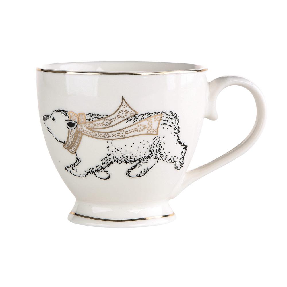 Filiżanka do kawy i herbaty / duża filiżanka jumbo porcelanowa święta Boże Narodzenie Altom Design Nordic Forest Miś 400 ml