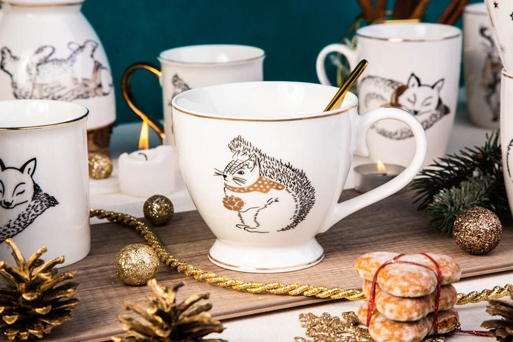 Filiżanka do kawy i herbaty / duża filiżanka jumbo porcelanowa święta Boże Narodzenie Altom Design Nordic Forest Wiewiórka 400 ml