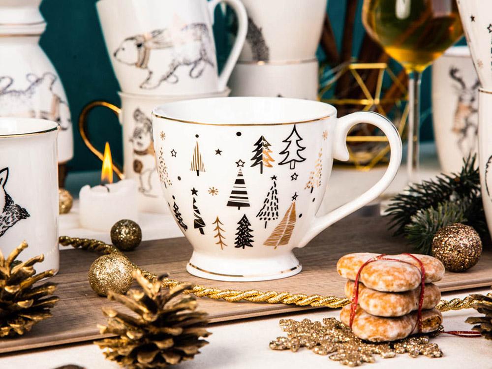 Filiżanka do kawy i herbaty / duża filiżanka jumbo porcelanowa święta Boże Narodzenie Altom Design Nordic Forest Choinki 400 ml