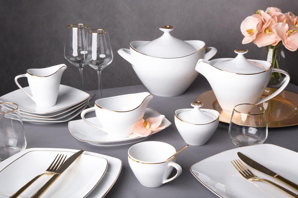 Zestaw obiadowy dla 6 osób kwadratowy porcelana MariaPaula Moderna Gold ze złotym zdobieniem (24 elementy)