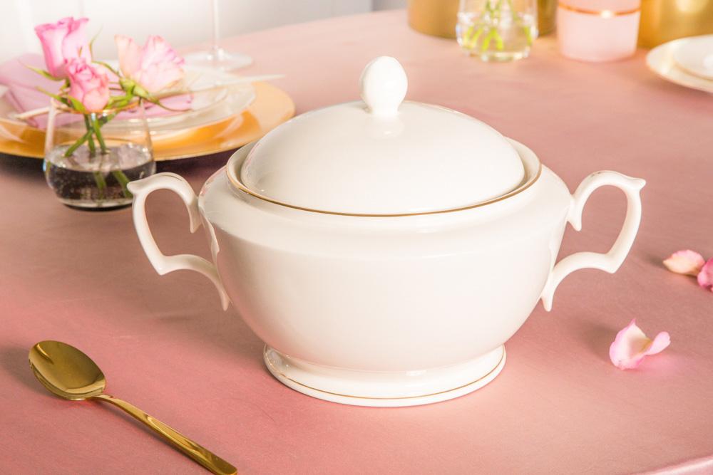 Waza do zupy porcelana MariaPaula Ecru Złota Linia  2,7l