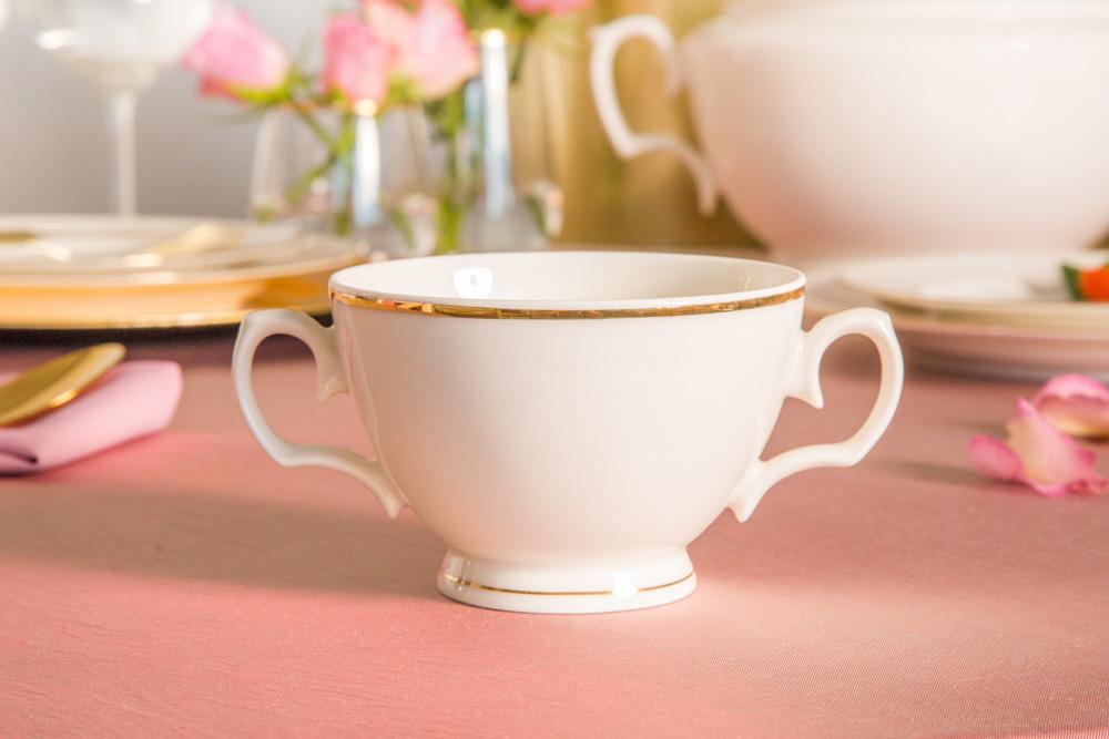 Bulionówka / bulionówka porcelana MariaPaula Ecru Złota Linia