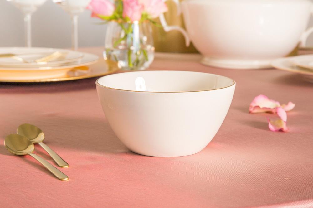 Miska / Salaterka porcelanowa MariaPaula Ecru Złota Linia 14 cm