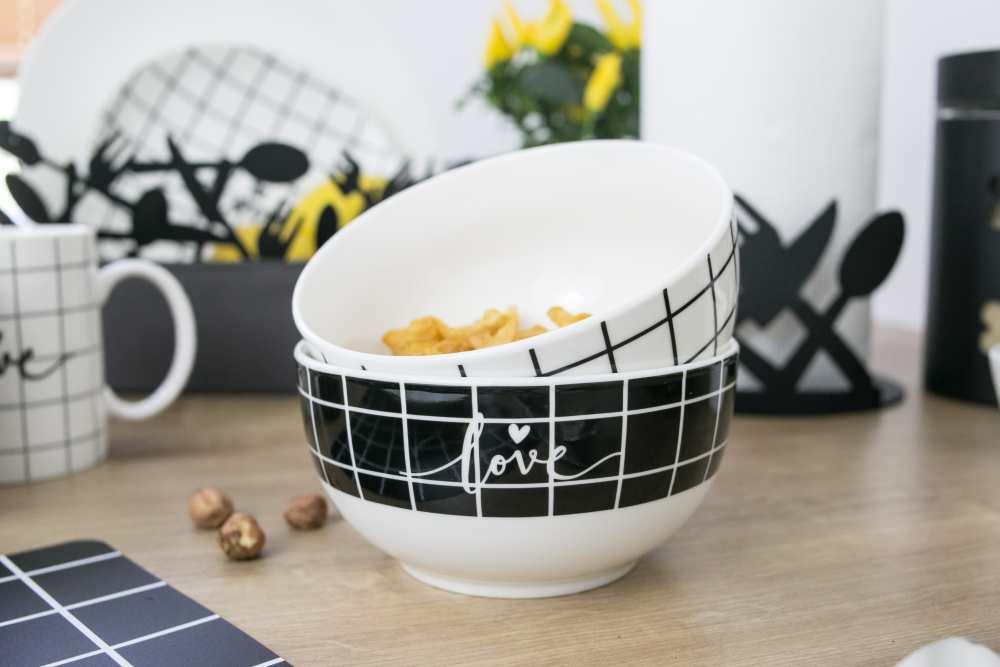 Miska / Salaterka porcelanowa Altom Design Miłość w kratkę 13 cm (2 wzory)