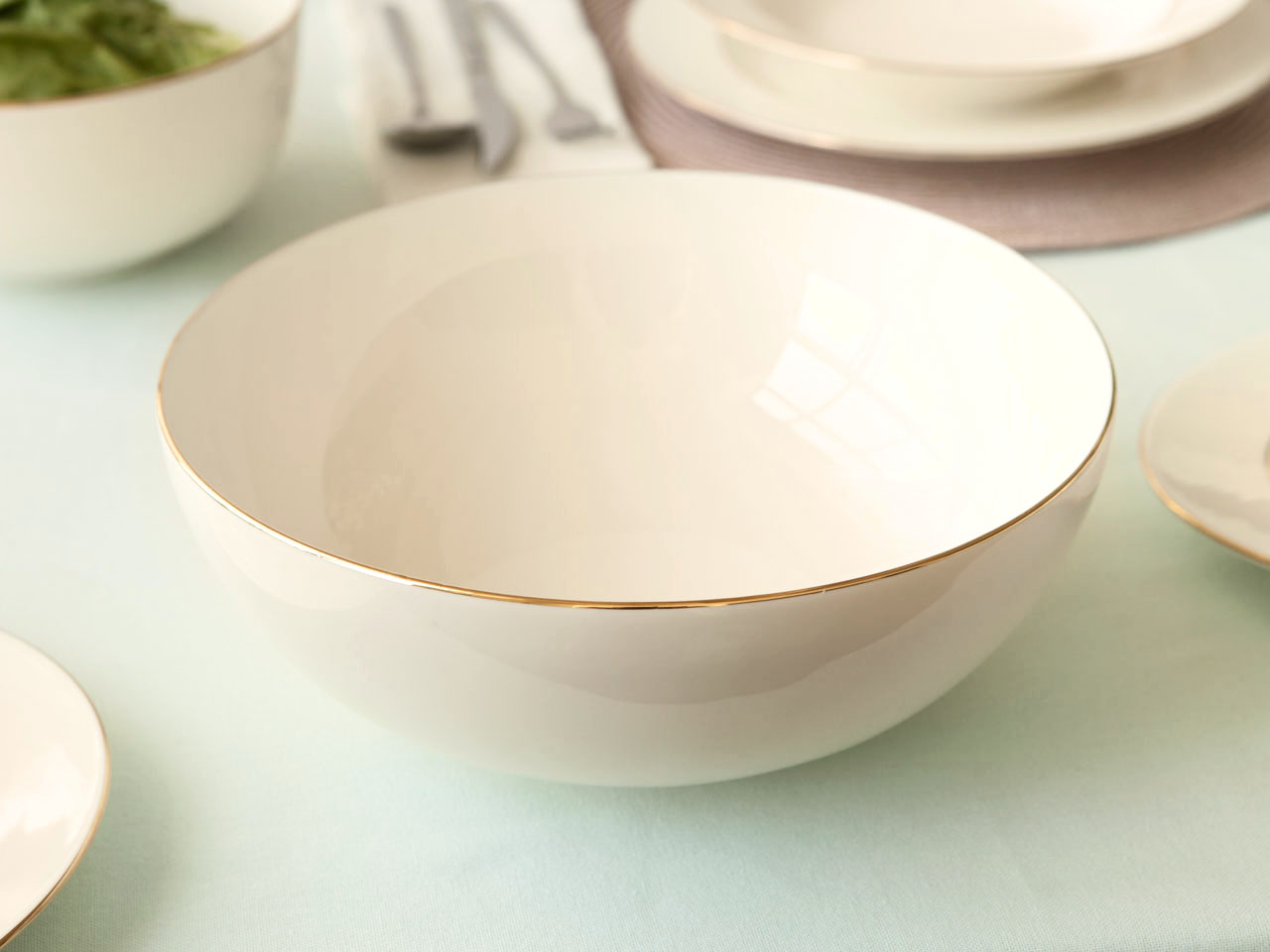 Miska / Salaterka okrągła porcelanowa MariaPaula Ecru Nova Złota Linia 25 cm