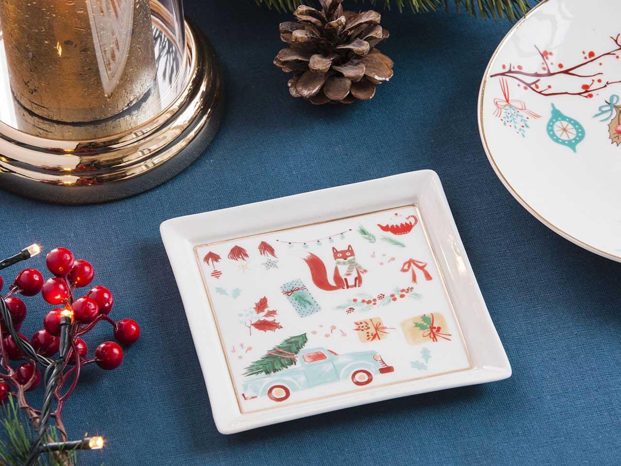 Talerzyk kwadratowy porcelanowy świąteczny Boże Narodzenie Altom Design Magia Północy 13 cm