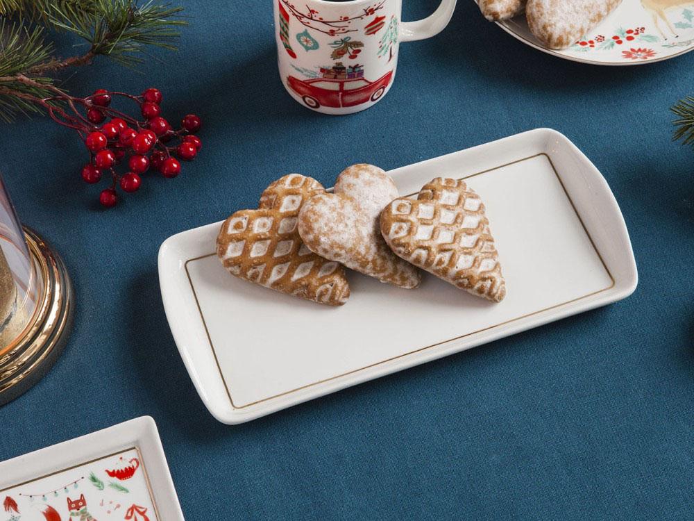 Półmisek porcelanowy świąteczny Boże Narodzenie Altom Design Magia Północy 13x27 cm