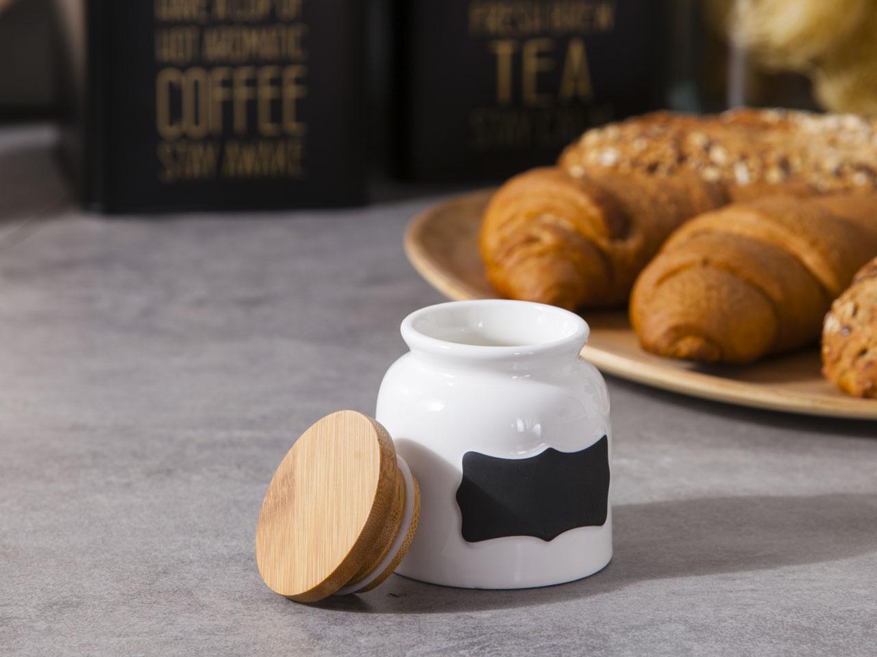 Słoik / pojemnik do przechowywania porcelanowy z bambusową pokrywką Altom Design Regular 200 ml / 8x9 cm