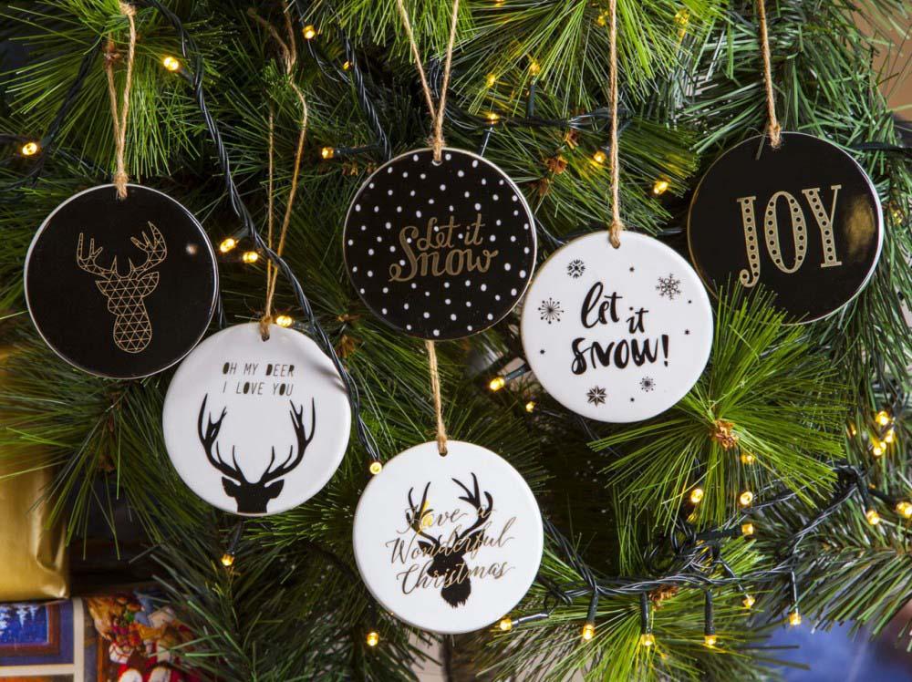 Zawieszka na choinkę / ozdoba świąteczna ze sznurkiem Boże Narodzenie Altom Design Nordic Winter (6 wzorów)