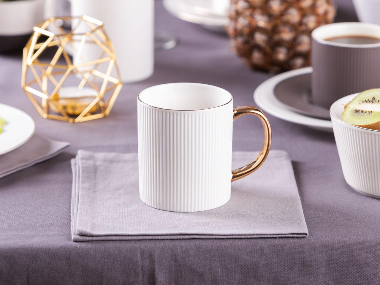 Kubek do kawy i herbaty porcelanowy ze złotym uchem Altom Design Urban White Złota Linia 320 ml
