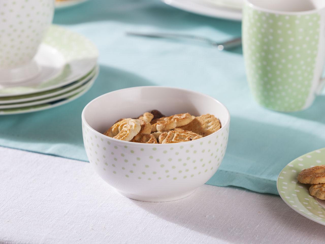 Miska / salaterka porcelanowa Altom Design Seledynowe Kropki 13 cm
