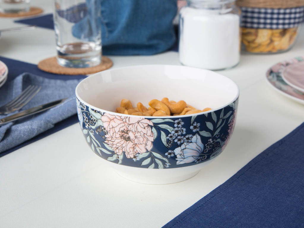 Miska / salaterka porcelanowa Altom Design Flower Jeans jeansowa