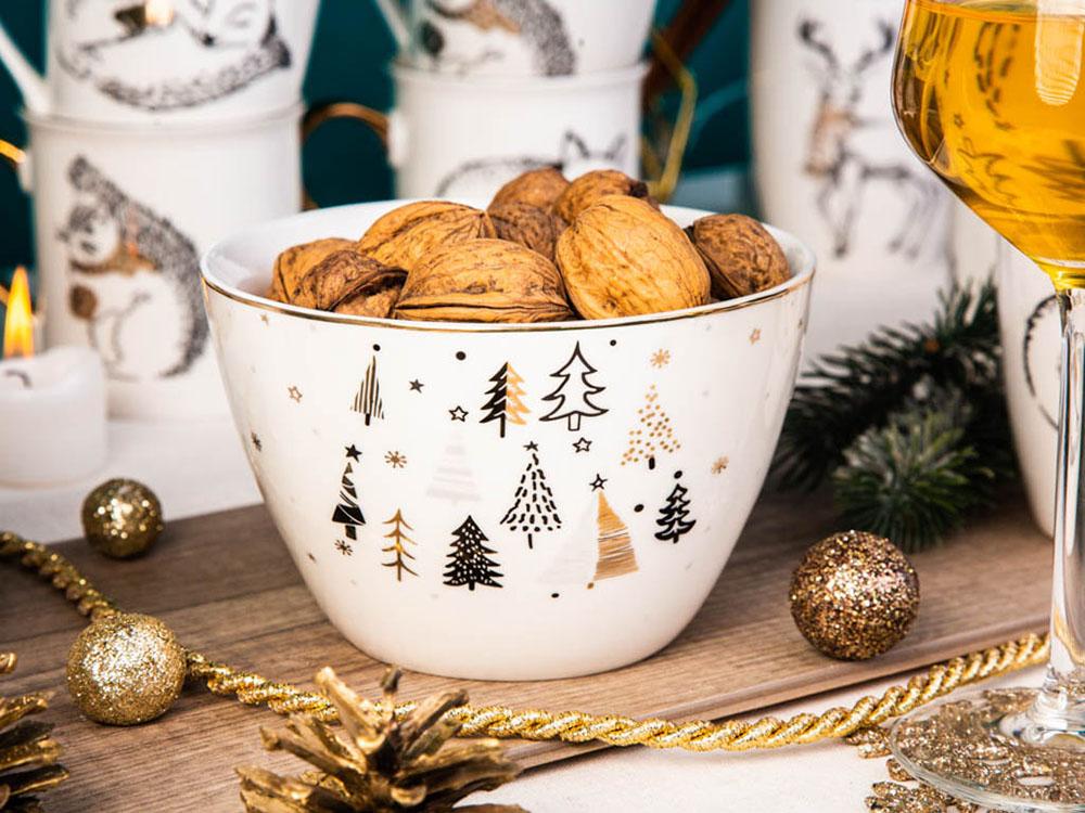 Salaterka / miseczka porcelanowa święta Boże Narodzenie Altom Design Nordic Forest 14 cm (2 wzory)