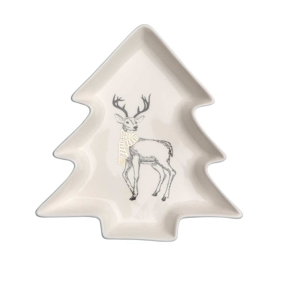 Naczynie / talerz / półmisek porcelanowy święta Boże Narodzenie Altom Design Nordic Forest Choinka, dekoracja Renifer 17,5 cm