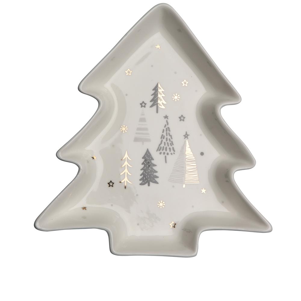 Naczynie / talerz / półmisek porcelanowy święta Boże Narodzenie Altom Design Nordic Forest Choinka, dekoracja Choinki 17,5 cm