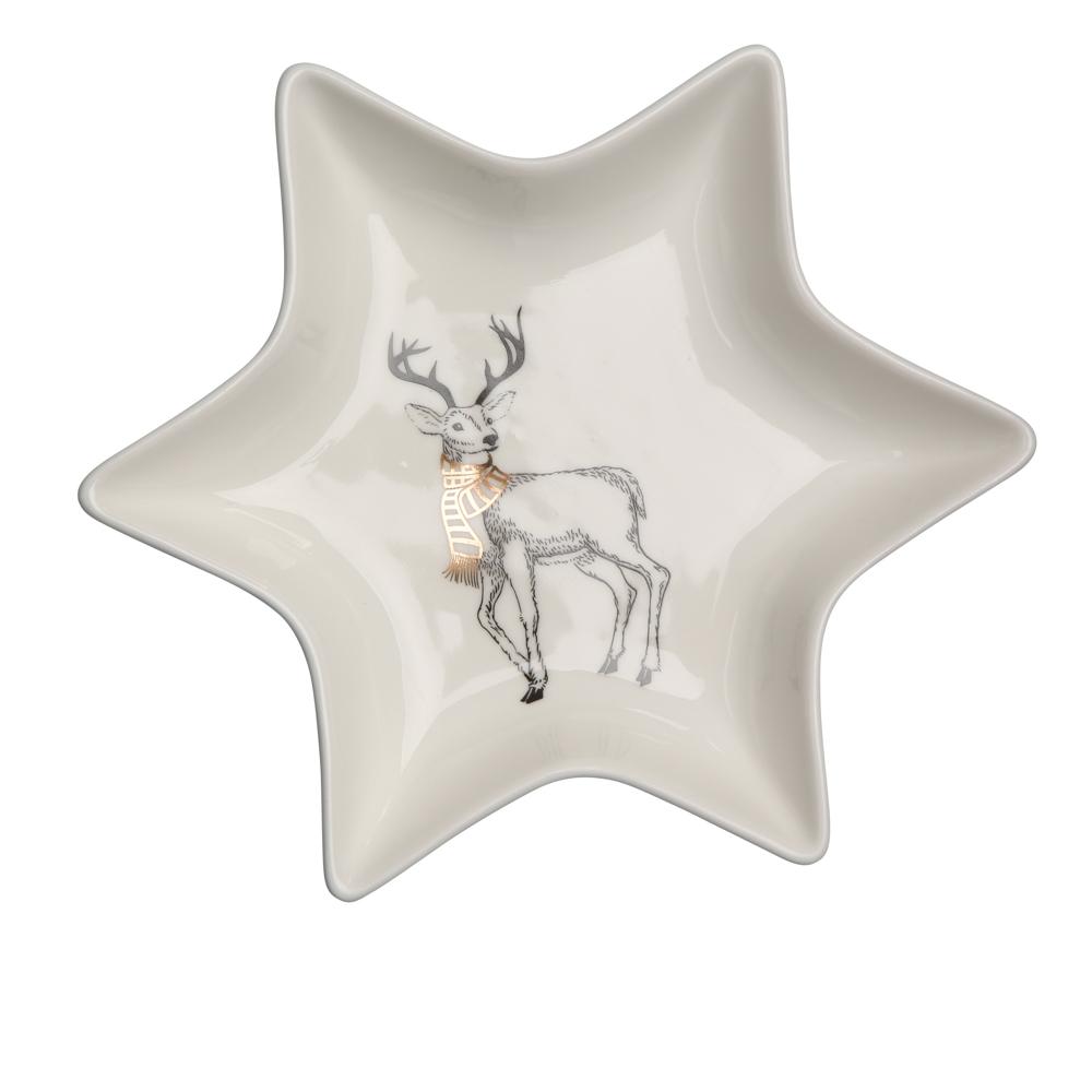 Naczynie / talerz / półmisek porcelanowy święta Boże Narodzenie Altom Design Nordic Forest Gwiazdka, dekoracja Renifer 17,5 cm