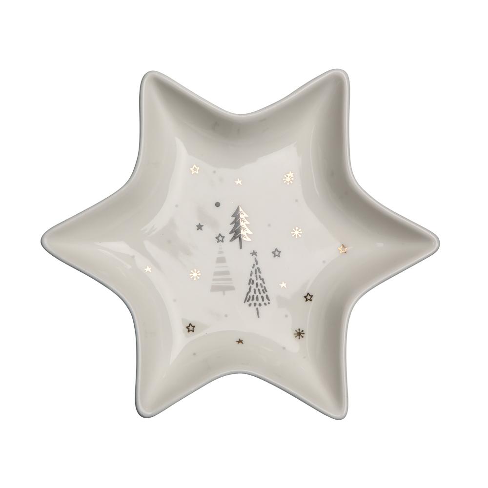 Naczynie / talerz / półmisek porcelanowy święta Boże Narodzenie Altom Design Nordic Forest Gwiazdka, dekoracja Choinki 17,5 cm