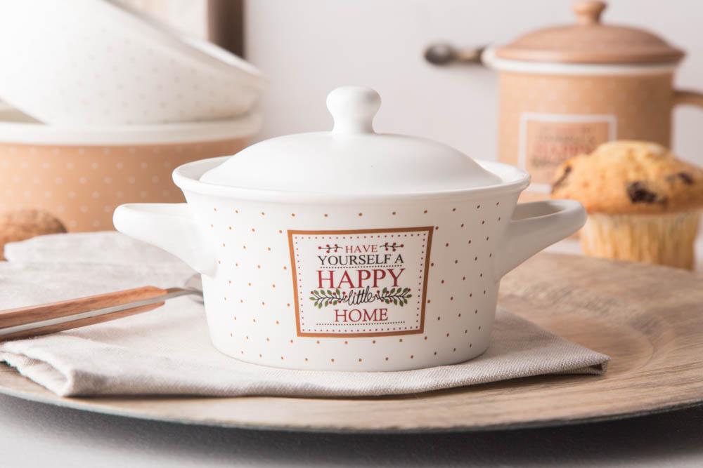 Kokilka z pokrywką / naczynie do zapiekania / ramekin porcelana Altom Design Happy Home 13 cm, kremowa w kropki