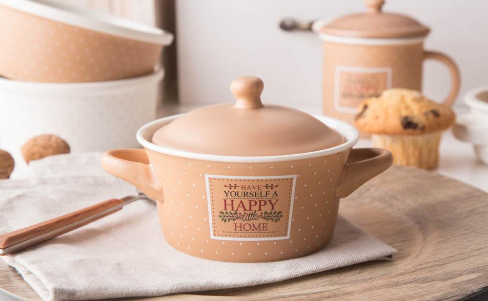Kokilka z pokrywką / naczynie do zapiekania / ramekin porcelana Altom Design Happy Home 13 cm, beżowa w kropki