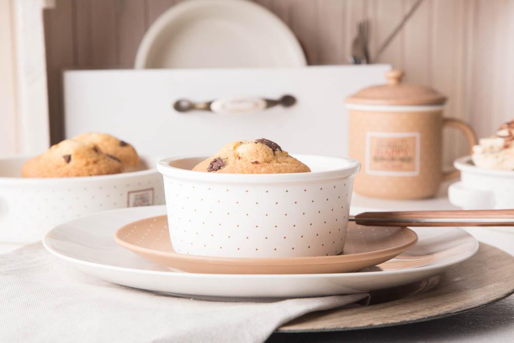 Kokilka porcelanowa / małe naczynie do zapiekania / ramekin Altom Design Happy Home 12,5 cm okrągła, kremowa w kropki