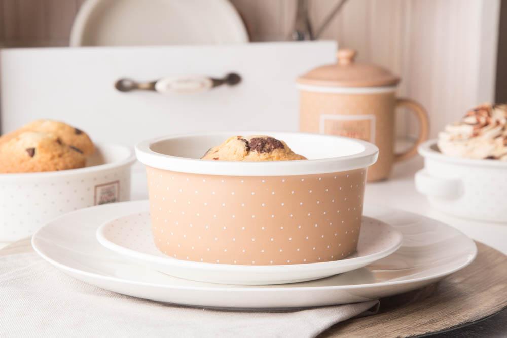 Naczynie do zapiekania / ramekin porcelana Altom Design Happy Home 15 cm okrągłe, beżowe w kropki