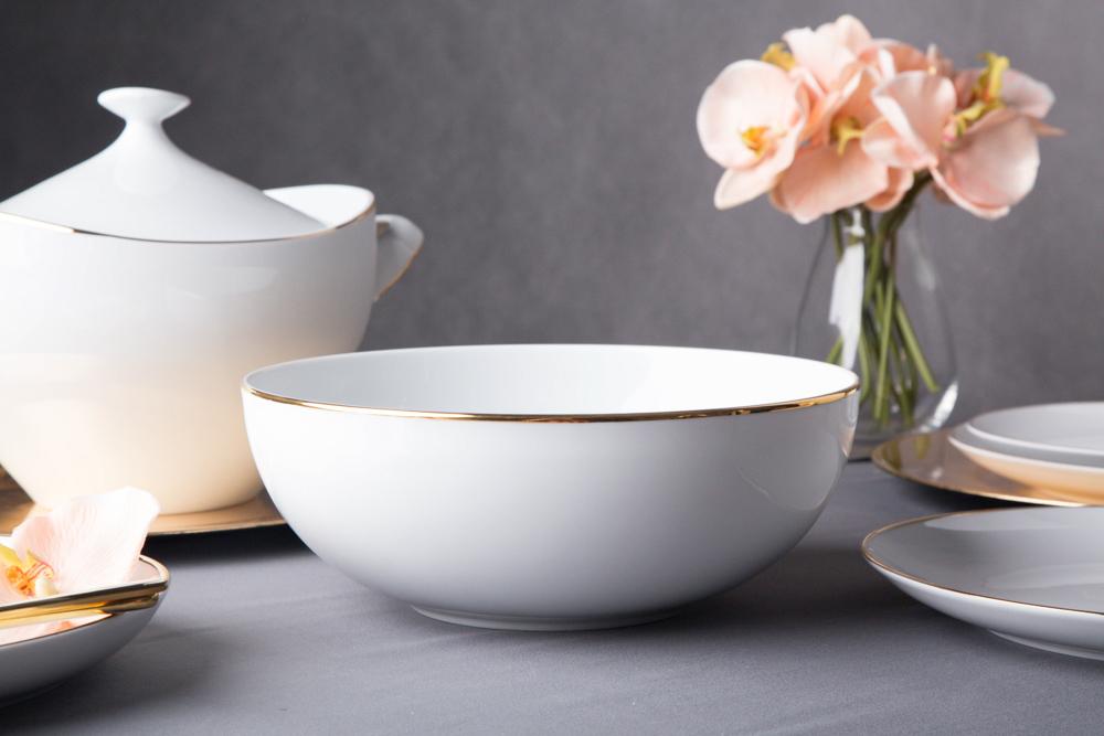 Salaterka / miska porcelana MariaPaula Moderna Gold 17 cm okrągła ze złotym zdobieniem