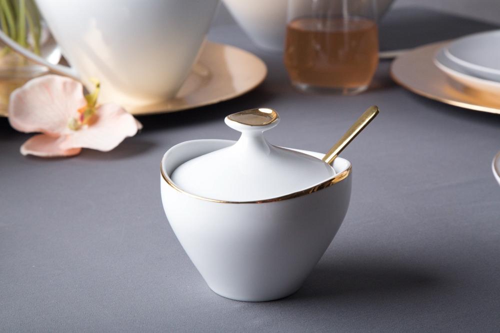 Cukiernica porcelana MariaPaula Moderna Gold 200 ml ze złotym zdobieniem