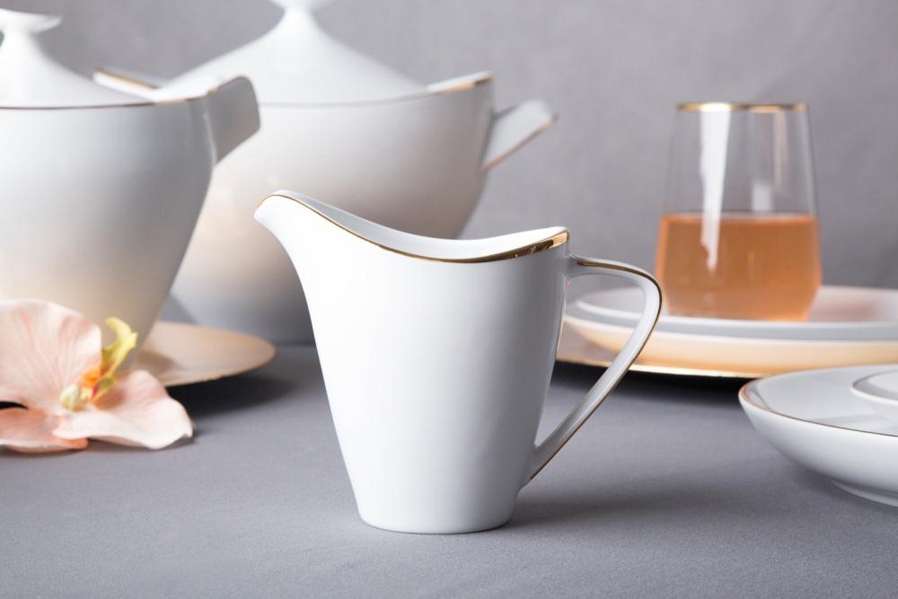 Mlecznik / dzbanek do mleka porcelana MariaPaula Moderna Gold 250 ml ze złotym zdobieniem
