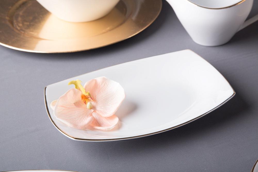 Półmisek / rawier porcelana MariaPaula Moderna Gold 24 cm prostokątny ze złotym zdobieniem