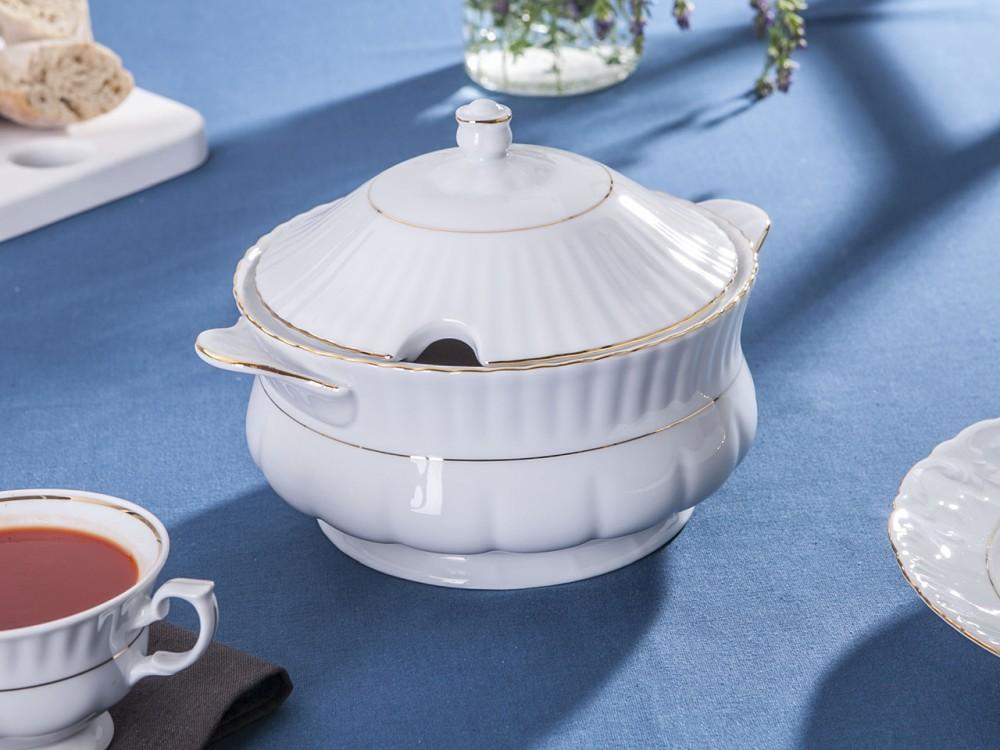 Waza do zupy porcelana Chodzież Iwona Złoty Pasek 2,5 L