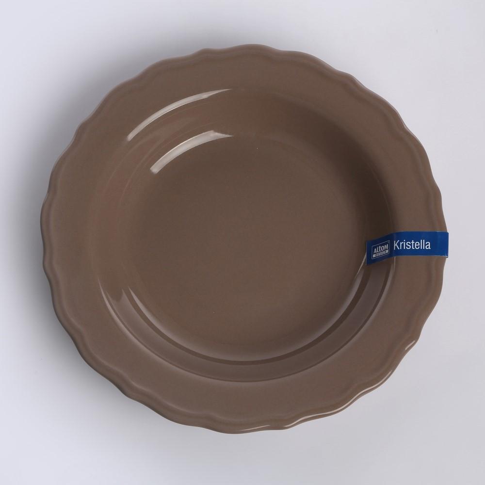 Talerz ceramiczny głeboki Altom Design Kristella 23 cm beżowy