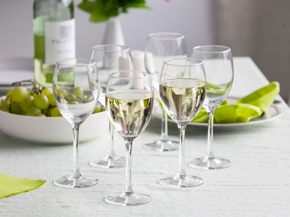 Diamond set of 6 white wine glasses 250ml
