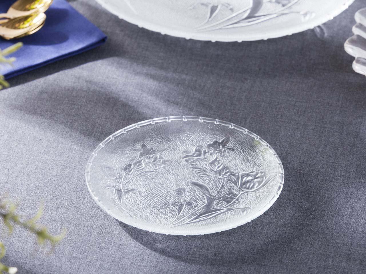 Talerz deserowy szklany Altom Design Kwiat 15,2 cm