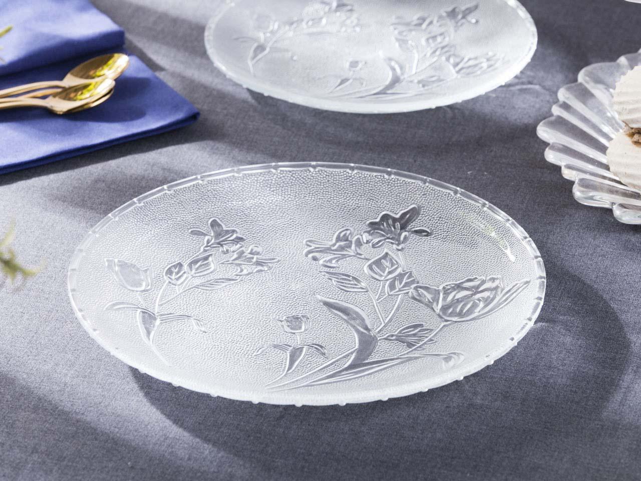 Talerz / patera na ciasto i tort szklana Altom Design Kwiat 25,2 cm