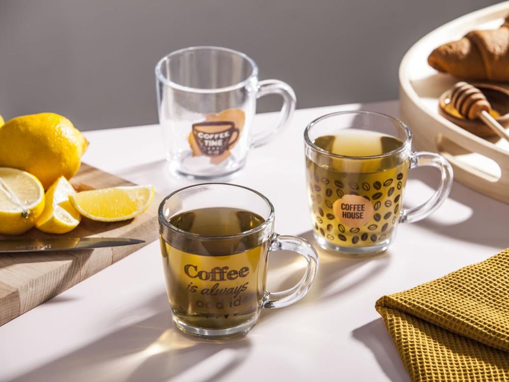 Szklanka / Kubek szklany Altom Design dek. Kawa 350 ml (3 wzory)