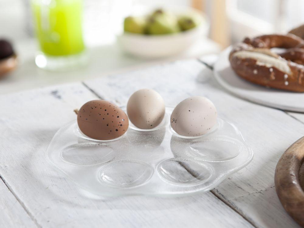 Talerz do jajek szklany Huta Jasło 21 cm
