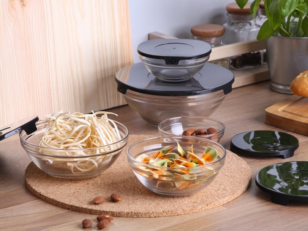 Miseczki / salaterki szklane z pokrywkami  Altom Design, czarne, komplet 5 misek szklanych