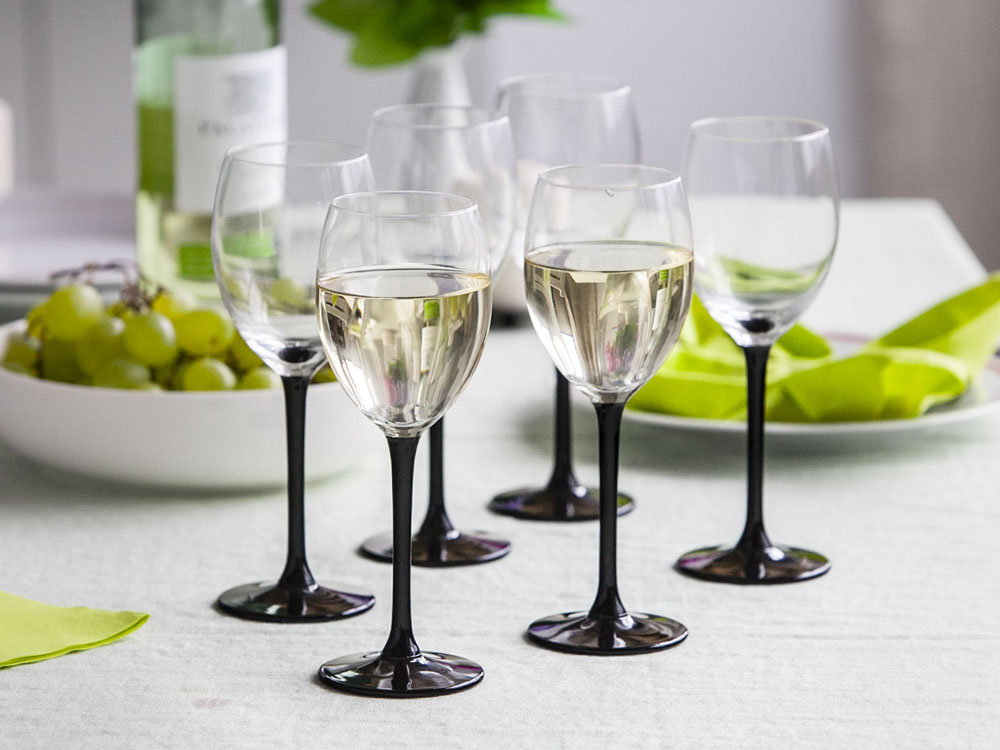 Onyx set of 6 white wine glasses 250ml